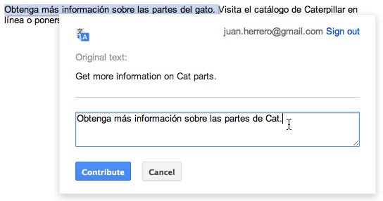 Edición manual en Google Translate